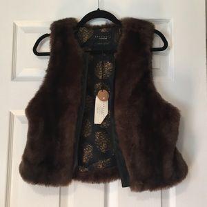 Leather Trim brown faux fur vest
